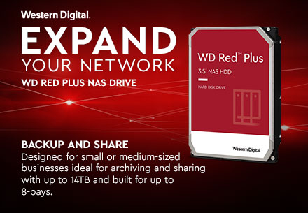 Expand Your Network with WD Red Plus. Click to navigate to learn more about WD Red Plus NAS HDD.