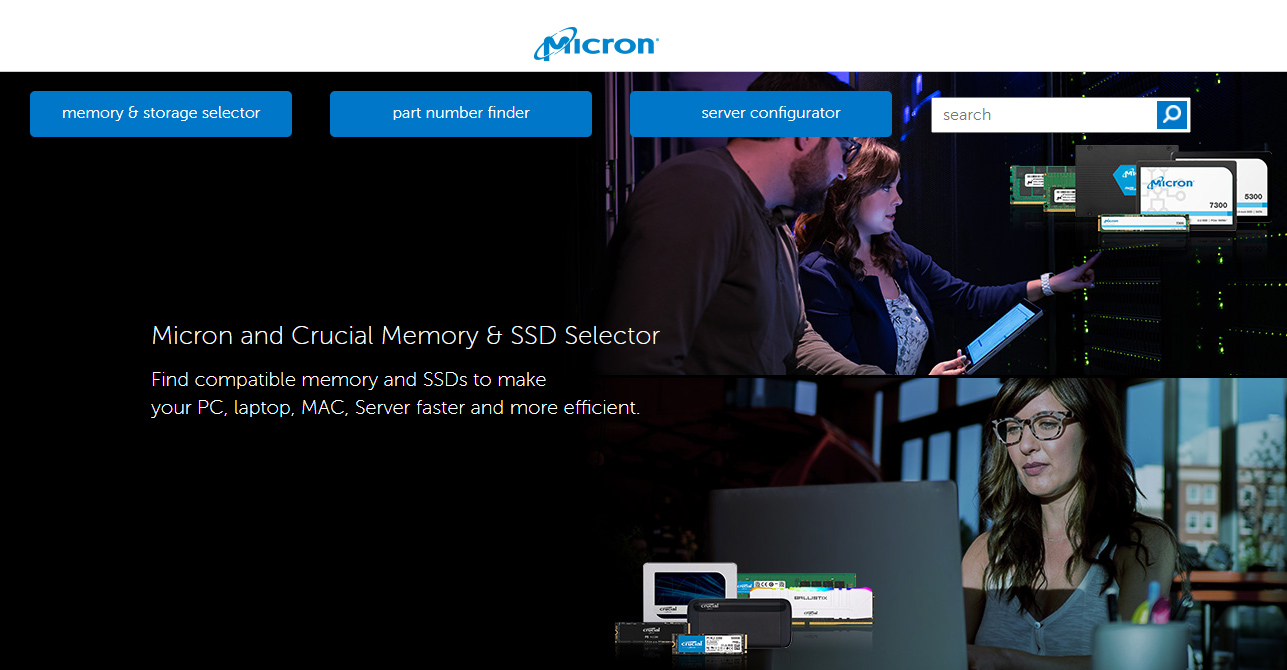 Micron and Crucial Memory & SSD Selector